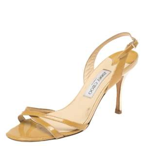 Jimmy Choo Mustard Patent Leather Jag Slingback Sandals Size 40