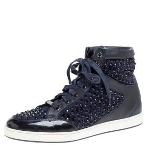 Jimmy Choo Blue/Black Leather and Suede Studded High Top  Sneakers Size 38