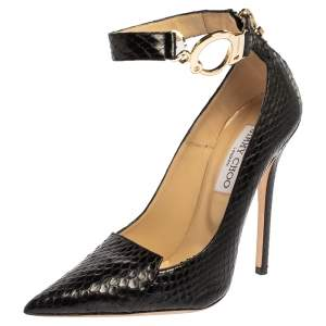 Jimmy Choo Black Python Devote Handcuff Ankle Strap Pumps Size 37