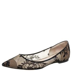 Jimmy Choo Black Floral Lace Romy Pointed Toe Ballet Flats Size 39