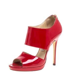 Jimmy Choo Red Patent Leather Sandals Size 37