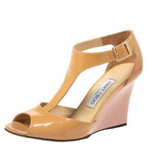 Jimmy Choo Beige Patent Leather Token T Strap Wedges Size 37
