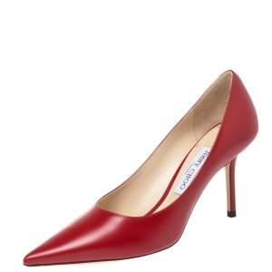 Jimmy Choo Red Leather Anouk Pointed Toe Pumps Size 38