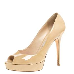 Jimmy Choo Beige Patent Leather Crown Peep Toe Platform Pumps Size 40