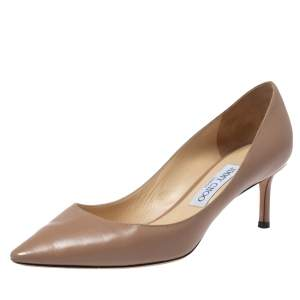 Jimmy Choo Beige Leather Romy Pointed Toe Pumps Size 37.5