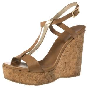 Jimmy Choo Brown/Gold Leather Native Cork Wedge Platform Sandals Size 38