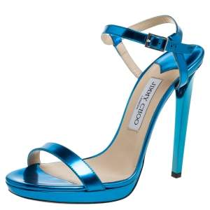 Jimmy Choo Metallic Blue Leather Claudette Ankle Strap Platform Sandals Size 40