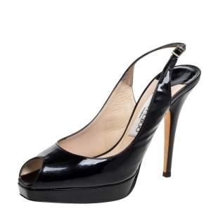 Jimmy Choo Black Patent Leather Peep Toe Slingback Sandals Size 37.5
