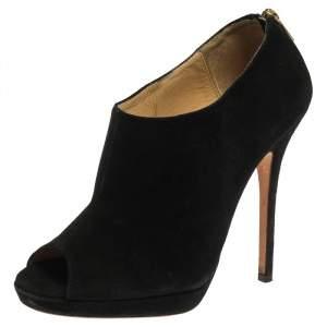 Jimmy Choo Black Suede Glint Peep Toe Ankle Booties Size 37
