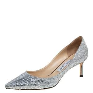 Jimmy Choo Silver Glitter Romy Pumps Size 38