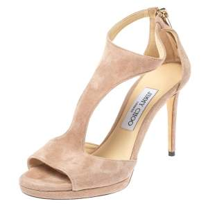 Jimmy Choo Pale Pink Suede Lana T-Strap Sandals Size 37.5