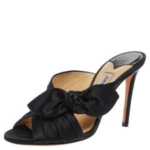 Jimmy Choo Navy Blue Satin Keely Mule Sandals Size 36.5