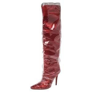 Jimmy Choo C/O Off-White Red Satin And PVC Elisabeth Knee Length Pointed Toe Boots Size 40