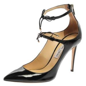 Jimmy Choo Black Patent Leather Double Bow Sage Pumps Size 40.5