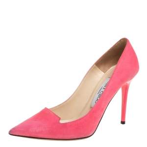 Jimmy Choo Pink Suede Avril Pointed Toe Pumps Size 35.5