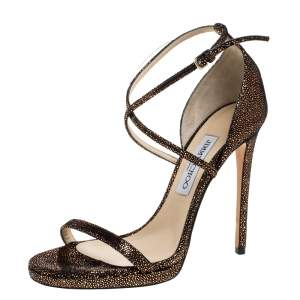 Jimmy Choo Metallic Brown/Black Textured Suede Leather Ankle Strap Sandals Size 39