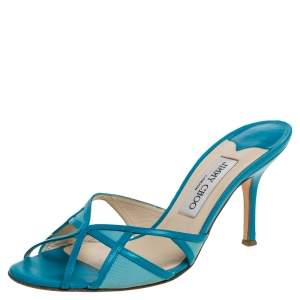 Jimmy Choo Blue Leather And Fabric Cut Out Slide Sandals Size 37