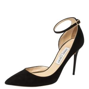Jimmy Choo Black Suede Lucy Ankle Strap Pointed Toe D'orsay Pumps Size 38