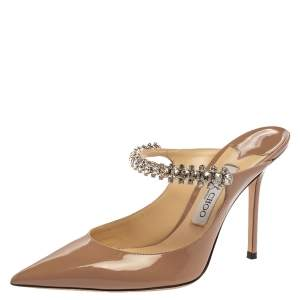 Jimmy Choo Beige Patent Leather Bing 65 Crystal Embellished Pointed Toe Mule Sandals Size 39.5