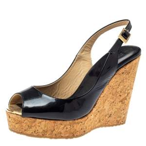 Jimmy Choo Black Patent Leather Prova Slingback Cork Wedge Sandals Size 36.5