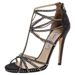 Jimmy Choo Black Suede Leather Vendetta Crystal Embellished Strappy Sandals Size 38.5