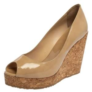 Jimmy Choo Beige Patent Leather Cork Wedge Papina Pumps Size 38.5
