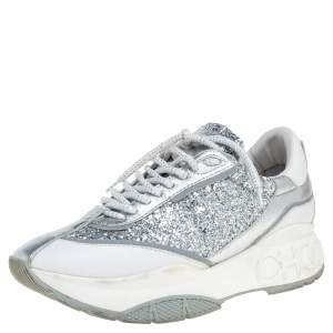 Jimmy Choo White/Silver Leather And Glitter Raine Low Top Sneakers Size 39