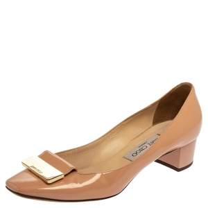 Jimmy Choo Beige Patent Leather Iris Square Toe Pumps Size 37.5