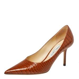 Jimmy Choo Brown Croc Embossed Leather Love Pumps Size 39
