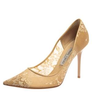 Jimmy Choo Beige Lace Romy 60 Pointed Toe Pumps Size 39.5