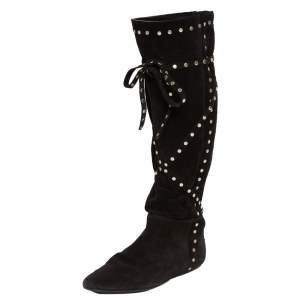 Jimmy Choo Black Suede Studded Knee Boots Size 39