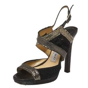 Jimmy Choo Black Chainmail and Fabric Peep Toe Slingback Sandals Size 36