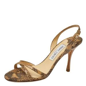 Jimmy Choo Two Tone Embossed Python Leather Jag Cross Strap Slingback Sandals Size 36.5
