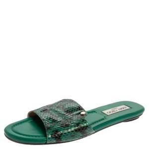 Jimmy Choo Green Python Embossed Leather Nanda Flat Slides Size 39.5