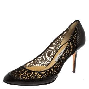 Jimmy Choo Black Suede Leather Laser Cut Pumps Size 40.5
