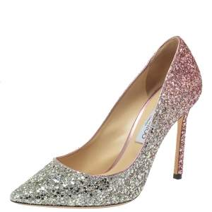 Jimmy Choo Two Tone Metallic Glitter Romy 100 Pointed Toe Pumps Size 39