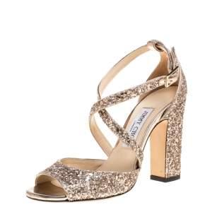 Jimmy Choo Rose Gold Glitter Carrie Criss Cross Sandals Size 37