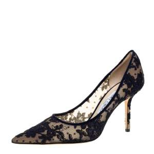 Jimmy Choo Dark Blue Lace Abel Pointed Toe Pumps Size 38