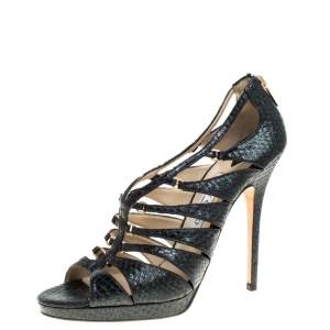 Jimmy Choo Green Shimmering Python Sandals Size 41