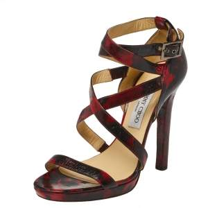 Jimmy Choo Red/Black Abstract Print Patent Leather Double Cross Strap Sandals Size 40.5