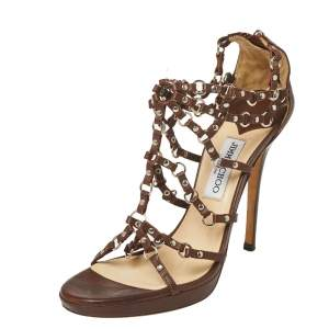 Jimmy Choo Brown Leather Liora Studded Caged Sandals Size 41