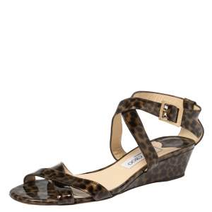 Jimmy Choo Two Tone Leopard Print Patent Leather Chiara Wedge Sandals Size 39