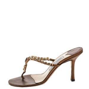 Jimmy Choo Metallic Bronze Leather Crystal Embellished Thong Sandals  Size 38.5