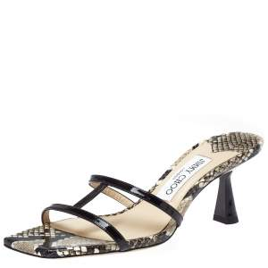 Jimmy Choo Black Python Effect and Patent Leather Ria Sandals Size 36