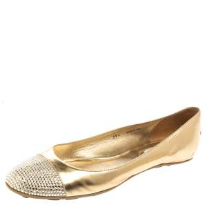 Jimmy Choo Metallic Gold Leather Waine Crystal Embellished Cap Toe Ballet Flats Size 39.5