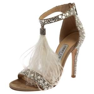 Jimmy Choo Beige Suede Leather Violla Embellished Open Toe Sandals Size 36