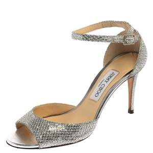 Jimmy Choo Metallic Silver Glitter Fabric Annie Ankle Strap Sandals Size 38.5