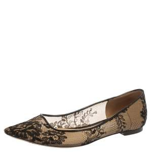 Jimmy Choo Black Floral Lace Romy Ballet Flats Size 37