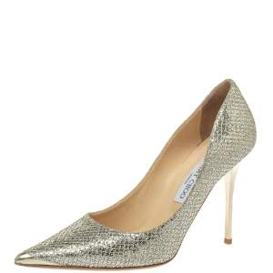 Jimmy Choo Metallic Champagne Lamé Glitter Fabric Abel Pointed Toe Pumps Size 39.5