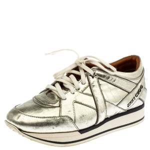 Jimmy Choo Metallic Gold Foil Leather London Sneakers Size 37